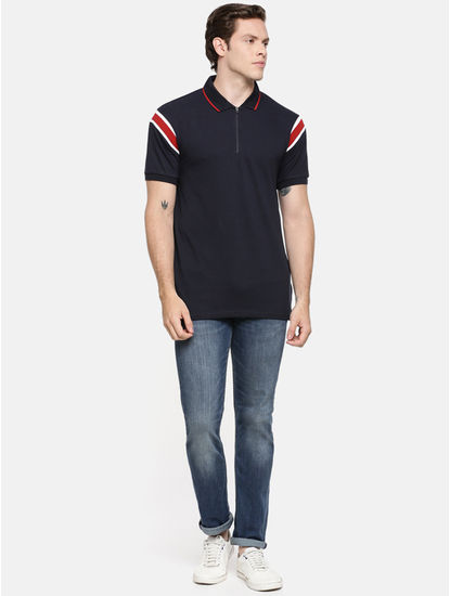 Navy Striped Polo Regular Fit T-Shirt