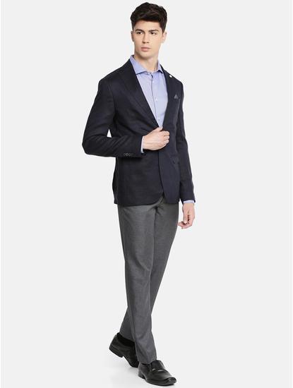 Blue Solid Slim Fit Blazer