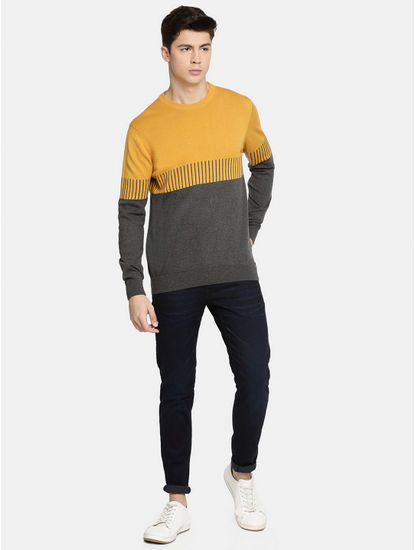 Yellow and Grey Melange Sweatshirt