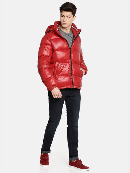 Red Solid Bomber Jacket