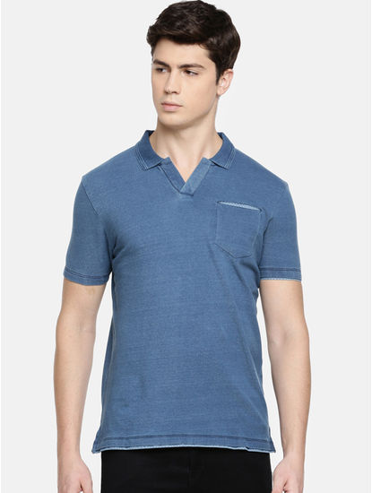 Light Blue Melange Polo T-Shirt