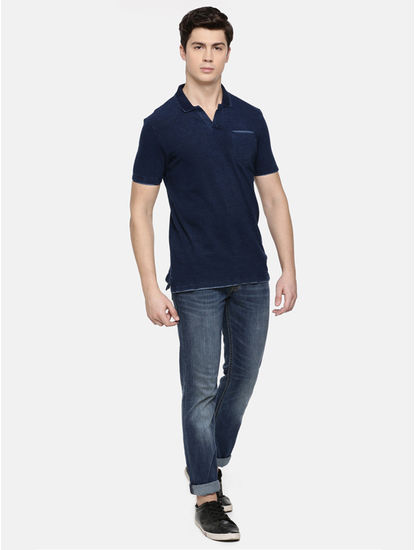 Indigo Melange Polo T-Shirt