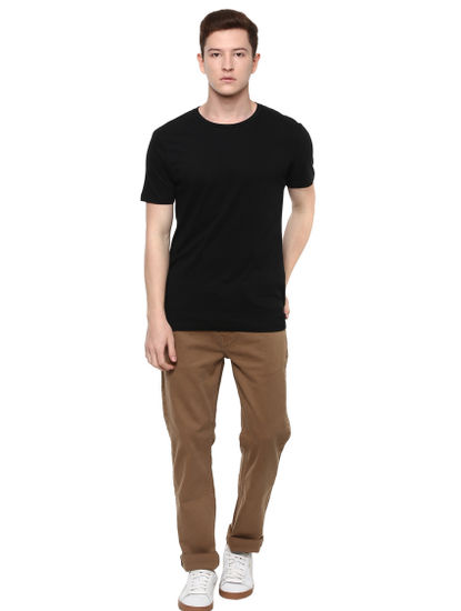 Brown Solid Slim Fit Jeans