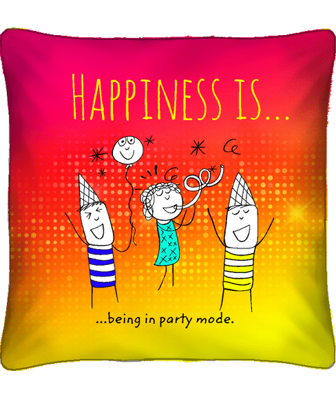 """""""Being In Party Mode"""" Graphic Filled Cushion (Super Soft Polysateen, Regular Size) - Portico New York Happiness Is Collection"""