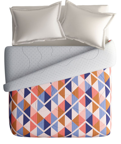 Contemporary Geometric ZigZag Double Size Comforter (100% Cotton, Reversible) - Portico New York Vienna Collection
