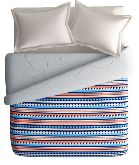 Striped & Abstract Print Double Size Comforter (100% Cotton, Reversible) - Portico New York Vienna Collection