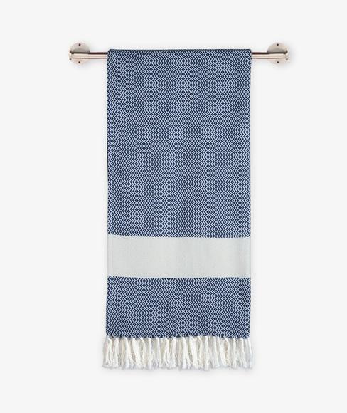 Blue Print Bath Towel With Tassel (100% Cotton, 75 x 150cms) - Portico New York Turkish Hammam Collection