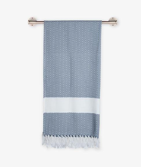 Black Sea Bath Towel With Tassel (100% Cotton, 75 x 150cms) - Portico New York Turkish Hammam Collection