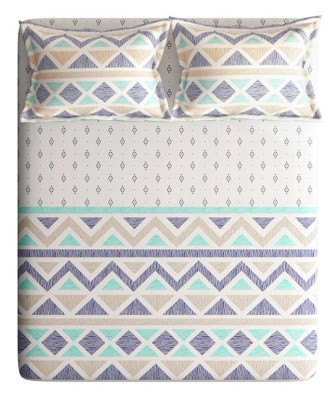 Geometric Print Super King Size Bedsheet With 2 Pillow Covers (100% Cotton) - Portico New York Charlotte Collection