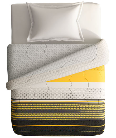 Geometric Abstract Print Single Size Comforter (100% Cotton, Reversible) - Portico New York Lavender Collection