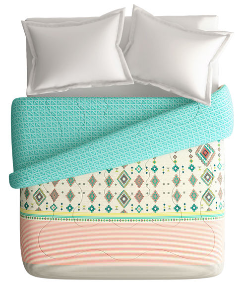 Tribal Print King Size Comforter (100% Cotton, Reversible) - Portico New York Lavender Collection