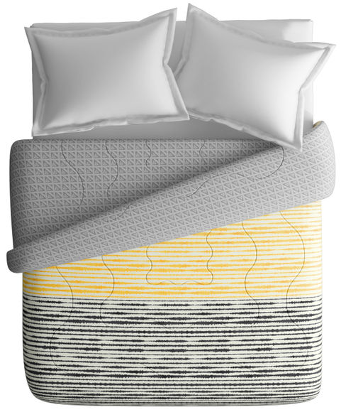 Black & Yellow Abstract Striped Print King Size Comforter (100% Cotton, Reversible) - Portico New York Lavender Collection