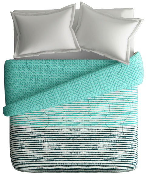 Teal & Yellow Striped Print King Size Comforter (100% Cotton, Reversible) - Portico New York Lavender Collection
