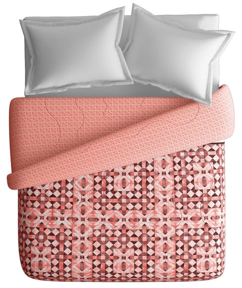 Red & Pink Geometric Print King Size Comforter (100% Cotton, Reversible) - Portico New York Lavender Collection