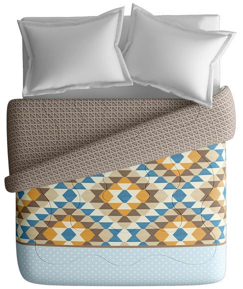 Geometric Print King Size Comforter (100% Cotton, Reversible) - Portico New York Lavender Collection
