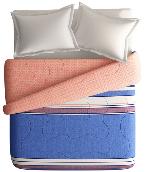 Striped Print King Size Comforter (100% Cotton, Reversible) - Portico New York Lavender Collection