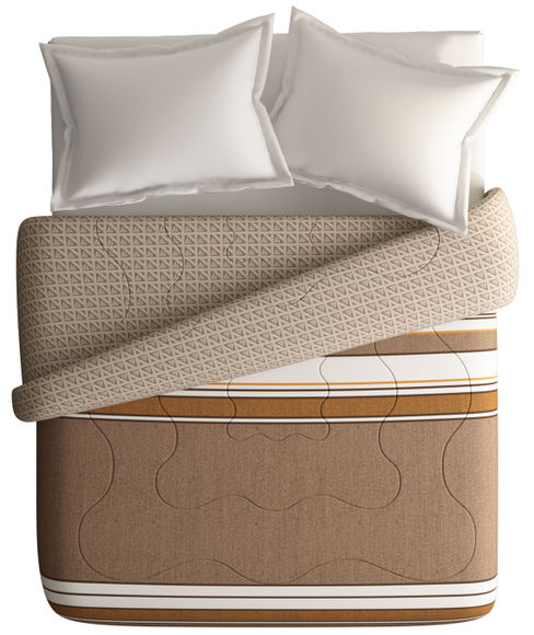 Classic Brown & Beige Striped King Size Comforter (100% Cotton, Reversible) - Portico New York Lavender Collection