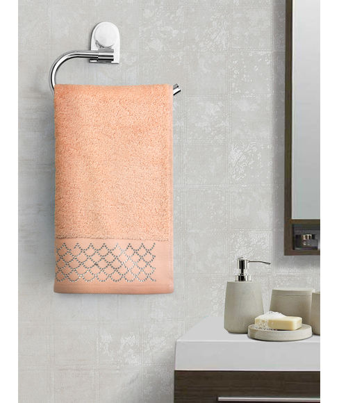 Petal Pink Hand Towel (40 x 60cms) - Portico New York New Shimmer Swarovski Collection