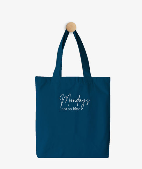 """""""Mondays are not so Blue"""" Seaport Blue Cotton Tote Bag, (35 X 40 cms) - Portico New York Trendy  Collection"""
