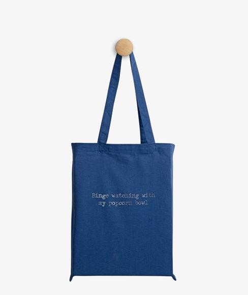 """""""Binge watching with my Popcorn bowl"""" Seaport Blue Cotton Tote Bag, (35 X 40 cms) - Portico New York Trendy  Collection"""