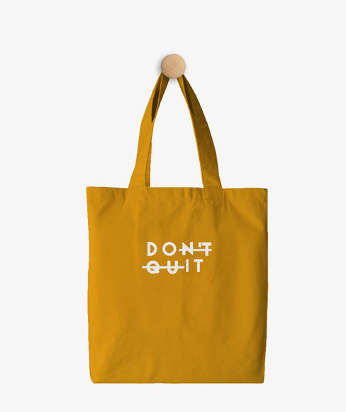 """""""Don't Quit"""" Yellow Cotton Tote Bag, (35 X 40 cms) - Portico New York Trendy  Collection"""
