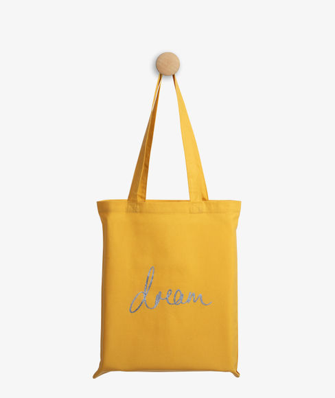 """""""Dream"""" Yellow Cotton Tote Bag, (35 X 40 cms) - Portico New York Trendy  Collection"""