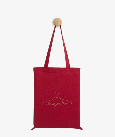 """""""Hang on there"""" Red Cotton Tote Bag, (35 X 40 cms) - Portico New York Trendy  Collection"""