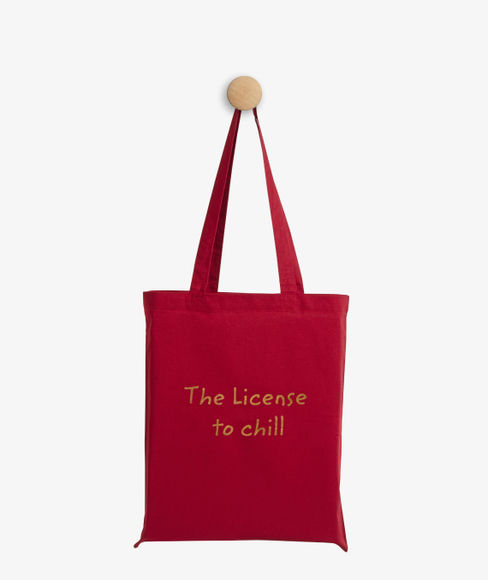 """""""License to chill"""" Red Cotton Tote Bag, (35 X 40 cms) - Portico New York Trendy  Collection"""