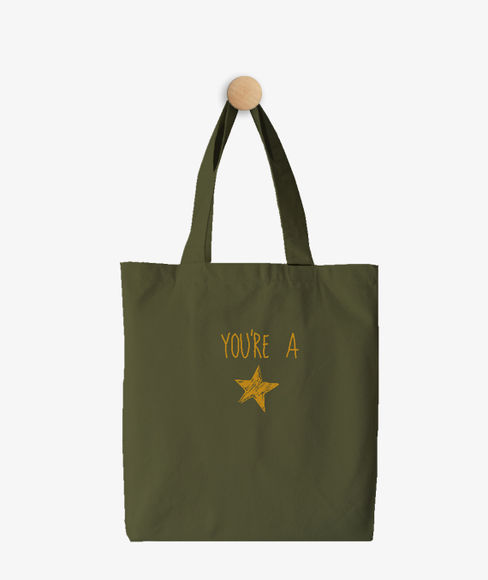 """""""You're a Star"""" Olive Green Cotton Tote Bag, (35 X 40 cms) - Portico New York Trendy  Collection"""