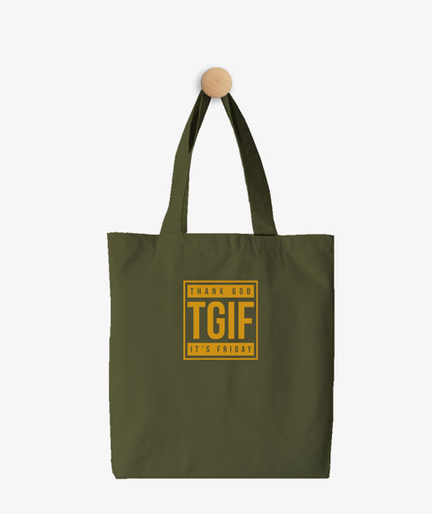 """""""TGIF"""" Olive Green Cotton Tote Bag, (35 X 40 cms) - Portico New York Trendy  Collection"""
