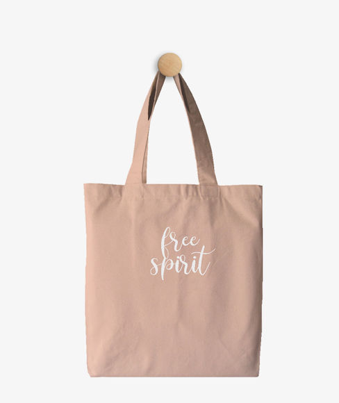 """""""Free Spirit"""" Pink Cotton Tote Bag, (35 X 40 cms) - Portico New York Trendy  Collection"""