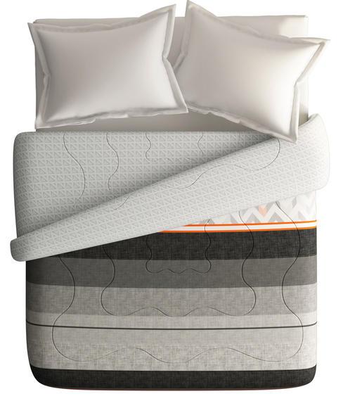 Chevron & Striped Print King Size Comforter (100% Cotton, Reversible) - Portico New York Lavender Collection