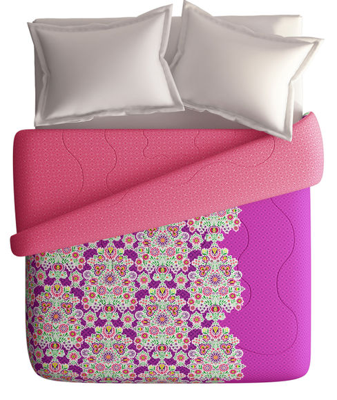 Purple Intricate Ethnic Flora Double Size Comforter (100% Cotton, Reversible) - Portico New York Vienna Collection
