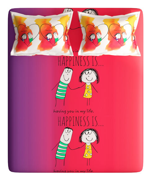 """""""Having you in my life"""" Graphic, Double Size Bedsheet with 2 Pillow Covers (100% Cotton, Queen Size) - Portico New York New Happiness Collection"""