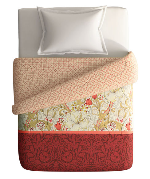 Vibrant Red & Mustard Single Size Comforter (100% Cotton, Reversible) - Portico New York Shalimaar Collection
