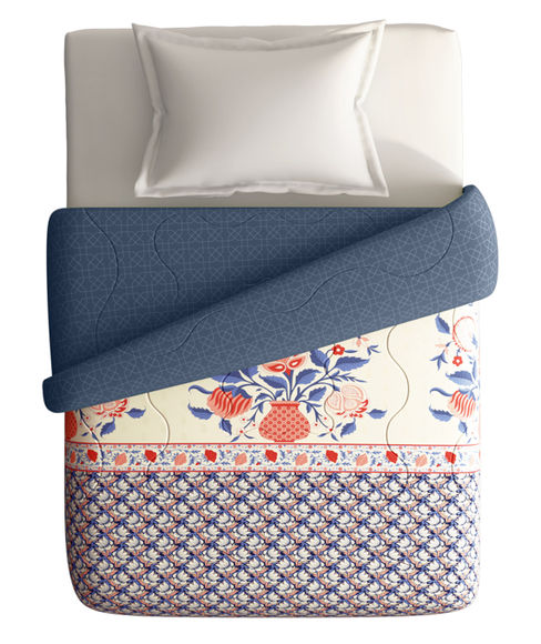 Intricate Border Pattern Single Size Comforter (100% Cotton, Reversible) - Portico New York Shalimaar Collection