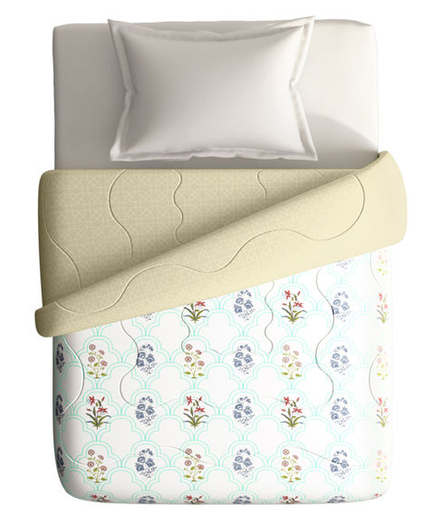 Pastel Floral Pattern Single Size Comforter (100% Cotton, Reversible) - Portico New York Shalimaar Collection