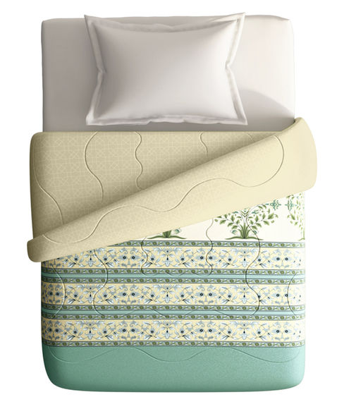 Soft Pastel Green Floral Print Single Size Comforter (100% Cotton, Reversible) - Portico New York Shalimaar Collection