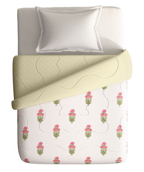 Vintage Red & Green Floral Print Single Size Comforter (100% Cotton, Reversible) - Portico New York Shalimaar Collection