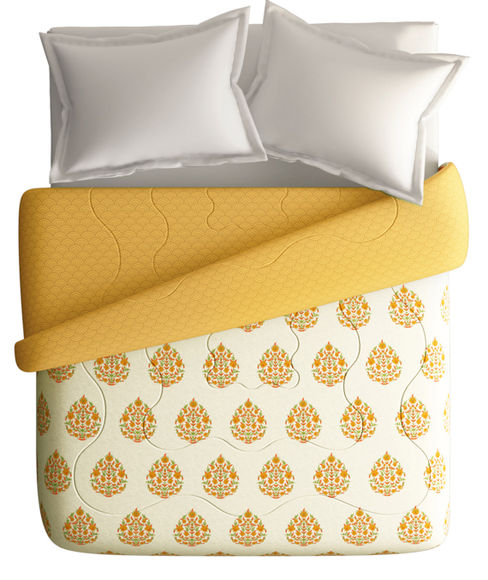 Turmeric Yellow Motif Double Size Comforter (100% Cotton, Reversible) - Portico New York Shalimaar Collection