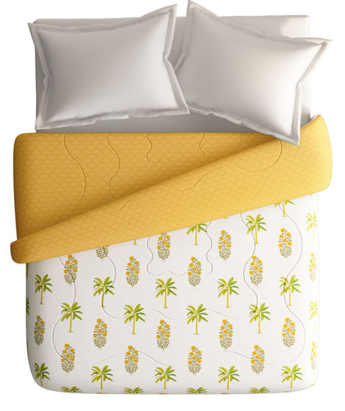 Turmeric Yellow & Green Coconut Motif King Size Comforter (100% Cotton, Reversible) - Portico New York Shalimaar Collection