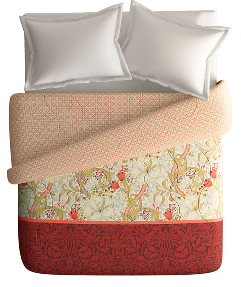 Vibrant Red & Mustard King Size Comforter (100% Cotton, Reversible) - Portico New York Shalimaar Collection