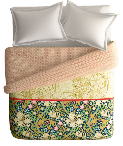 Traditional Floral Print King Size Comforter (100% Cotton, Reversible) - Portico New York Shalimaar Collection
