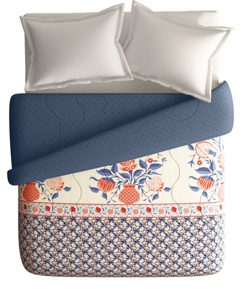 Intricate Border Pattern King Size Comforter (100% Cotton, Reversible) - Portico New York Shalimaar Collection