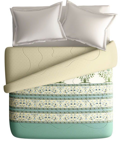 Soft Pastel Green Floral Print King Size Comforter (100% Cotton, Reversible) - Portico New York Shalimaar Collection