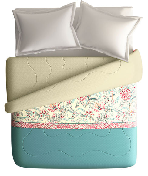 Intricate Floral Print King Size Comforter (100% Cotton, Reversible) - Portico New York Shalimaar Collection