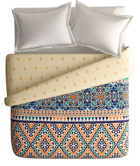 Classic Embellished Indian Print Double Size Comforter (100% Cotton, Reversible) - Portico New York Shubh Mangalam Collection