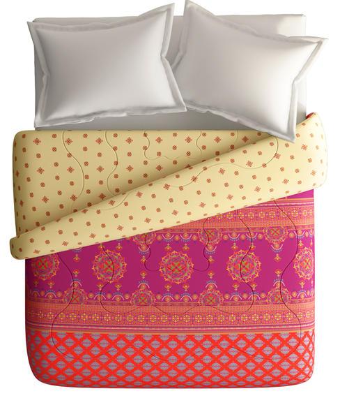 Pink & Orange Ethnic Print King Size Comforter (100% Fabric, Reversible) - Portico New York Neeta Lulla Collection