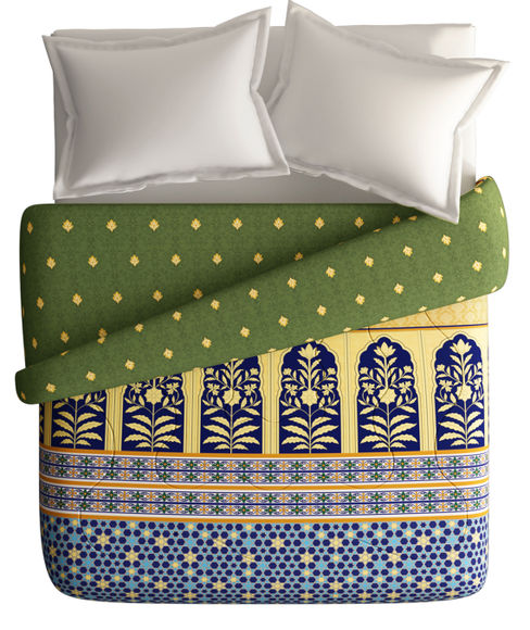 Brocade-Inspired Print Double Size Comforter (100% Cotton, Reversible) - Portico New York Shubh Mangalam Collection