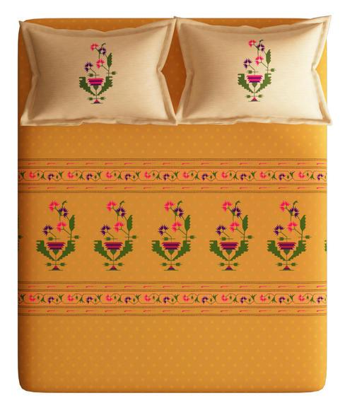 Gorgeous Orange Flower Print Bedsheet With 2 Pillow Covers (100% Cotton, Super King Size) - Portico New York Neeta Lulla Collection